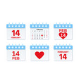 february 14 calendar icon valentine day vector image vector image