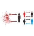 fractured pixel halftone man exchange woman icon vector image vector image