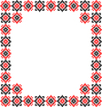 Frame black red patterns on canvas vector image