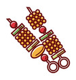 fresh vegetables om skewers for grill isolated vector image