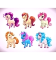 Funny cartoon horse characters vector image vector image