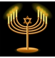 Gold Menorah with Burning Candles vector image