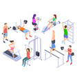 gym isometric fitness people training physical vector image vector image