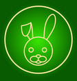 head of a hare a rabbit in a neon circle easter vector image vector image