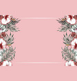horisontal tropical frame pink background vector image