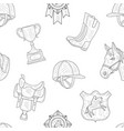 horseback equipment hand drawn seamless pattern vector image