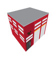 isolated isometric fire station building icon vector image