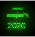 neon progress bar 2020 year vector image