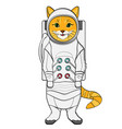 object on white background red cat in a spacesuit vector image vector image