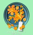 orange juice carton pack mockup fresh fruit vector image vector image