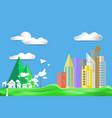 paper art style flat design color city town house vector image