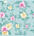 pink yellow rose leaves seamless pattern mint vector image