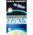 Planets in space and other objects vector image vector image