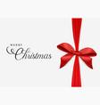 red christmas gift ribbon greeting card vector image vector image