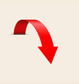 red down arrow on beige background vector image vector image