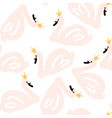 seamless childish pattern with swan princess vector image vector image