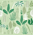 seamless jungle pattern with hand drawn palm vector image vector image