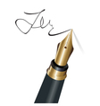 Signing with a fountain pen isolated object vector image vector image