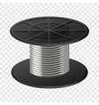 silver cable coil mockup realistic style vector image vector image