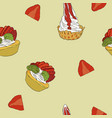 strawberry cheese cake hand draw sketch vector image vector image