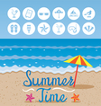 Summer Beach Background with Text and Icons vector image vector image