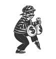 thief with stolen money sketch vector image