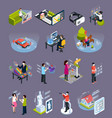 virtual augmented reality isometric icons set vector image