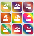 Wi fi router icon Nine buttons with bright vector image vector image