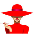 woman with a cigarette in red hat and evening vector image vector image
