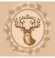 Christmas background with deer vector image