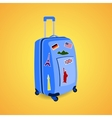 Vtravel suitcase with funky stickers vector image