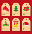 A set of six christmas or new year tags with