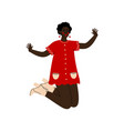 african american girl happily jumping young woman vector image