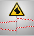aution - danger be aware of dogs the area is vector image vector image