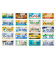 auto plate and car numbers set vehicle vector image vector image