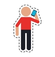 avatar using smarphone talking communication dot vector image