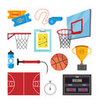 basketball icons set sport basketball vector image vector image
