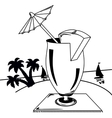 Black and white tropical landscape vector image