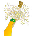 bubbly bottle and cork vector image vector image
