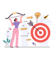 business woman character hit mark vector image vector image