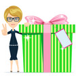business woman holding a big gift box for vector image