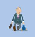 businessman running with a suitcase vector image vector image