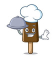 chef with food chocolate ice cream mascot cartoon vector image vector image
