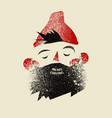christmas card design with cartoon bearded man vector image