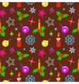 Christmas seamless pattern Candles balls holly vector image vector image