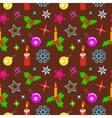 Christmas seamless pattern Candles balls holly vector image vector image