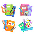 colorful school supplies isolated on white vector image vector image
