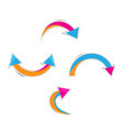 cute curved arrows with shadows vector image vector image