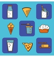 Dairy icons set in line style design vector image vector image