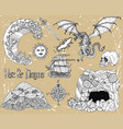 design set with dragon cave skull treasures vector image vector image